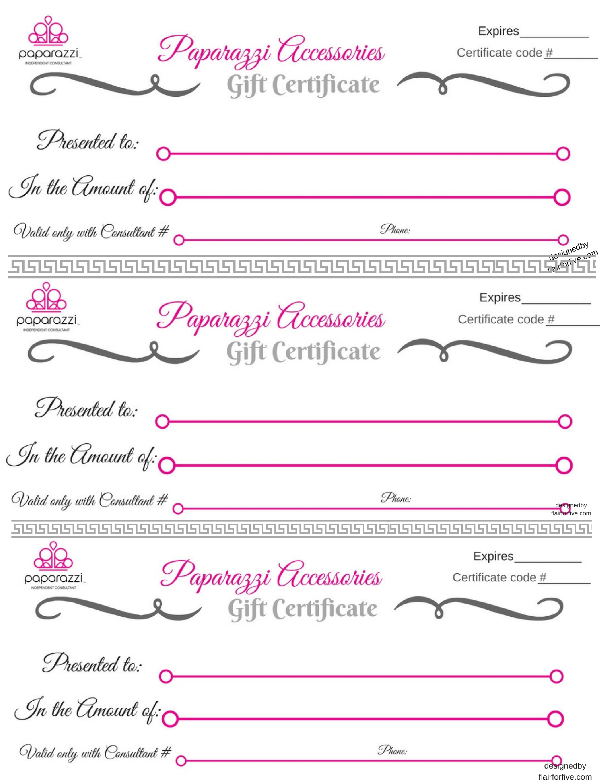 image regarding Paparazzi Printable Numbers referred to as Paparazzi Reward Certification - Paparazzi $5 Jewellery Sign up for or