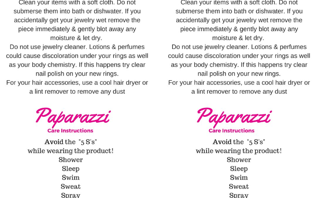 Paparazzi Care Instructions