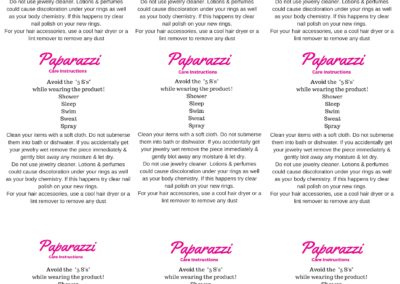 Printable Paparazzi Care Instructions